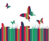 Vlinders en kleurrijke gras — Stockvector