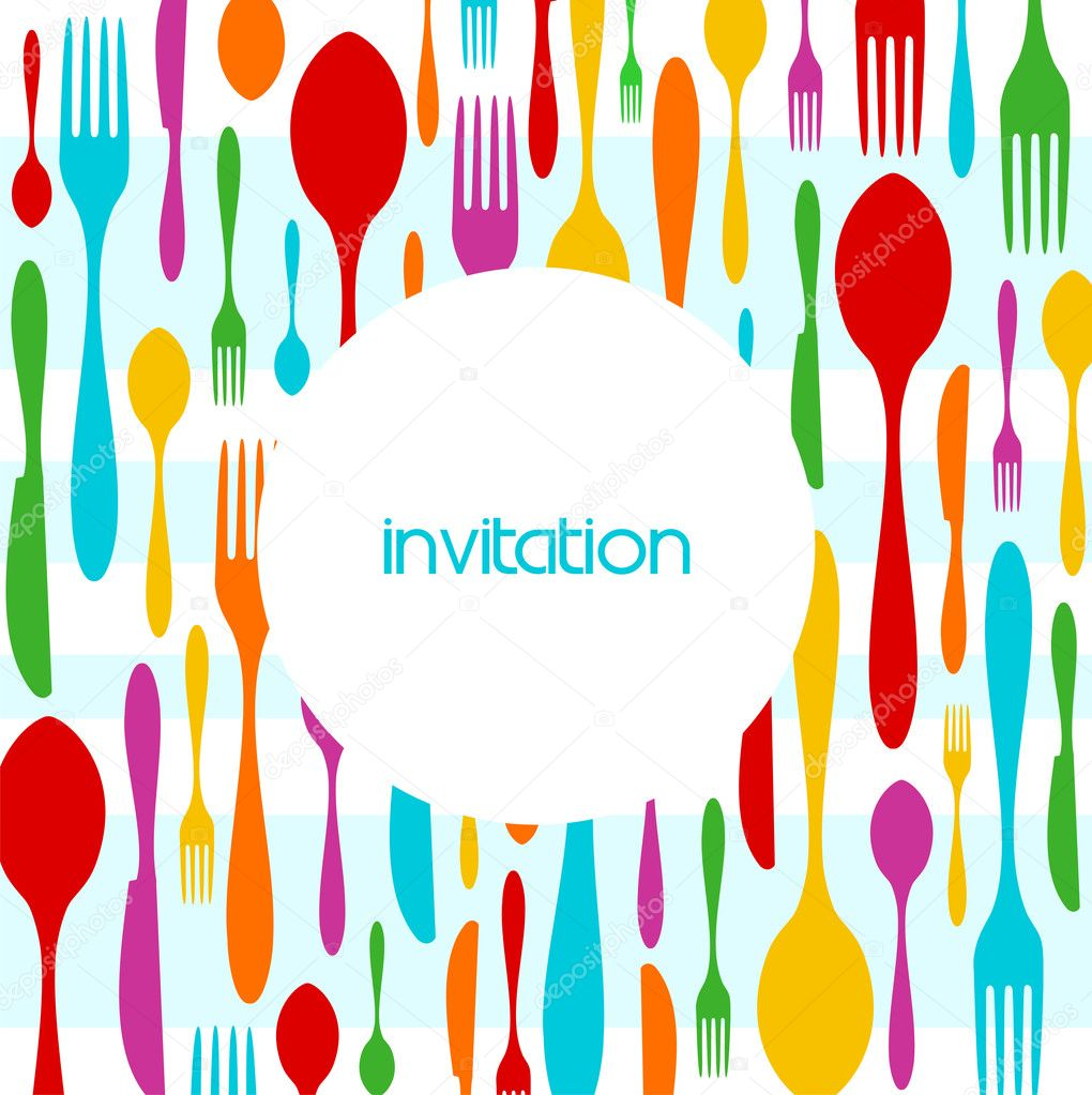 Food, restaurant, menu design with colorful cutlery silhouette background. Suitable as invitation dinner card. Vector available  Stock Vector #2133404