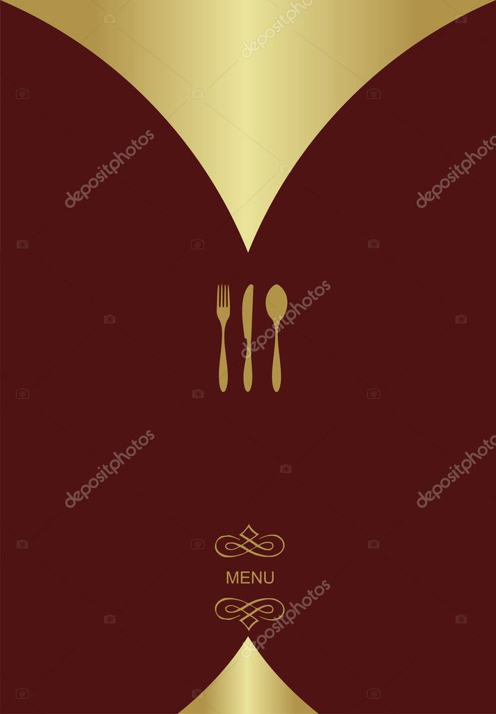 Vintage Menu Background. Food and restaurant design with golden cutlery silhouette. Vector available  Stock Vector #2133601