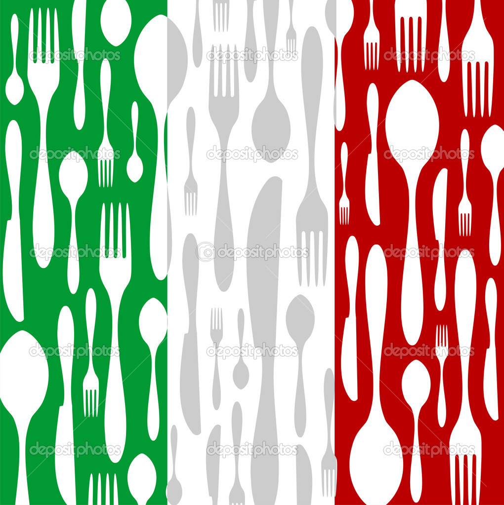 Italian Cuisine. Cutlery silhouettes: spoon, knife and fork pattern on green, white and red wide striped background as an icon of the country flag. Vector avail  Stock Vector #2135824