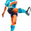 Watercolor painted soccer player — Stock Photo