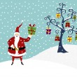 Royalty-Free Stock Imagem Vetorial: SANTA CLAUS AND CHRISTMAS TREE
