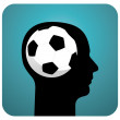 Soccer ball brains — Stock Vector