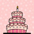 Stock Vector: Pink birthday cake