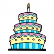 colorful birthday cake — Stock Vector