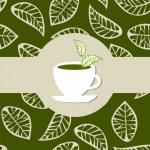 Green tea package label — Stock Vector