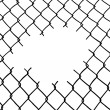 Stock Vector: Cut wire fence