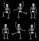 Halloween skeletons dancing on black bac — Stock Vector