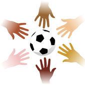Hands around a soccer ball — Stock Vector