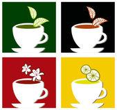Colorful square tea labels composition — Stock Vector