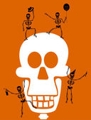 Halloween Skeleton on Black Background. — Stock Vector