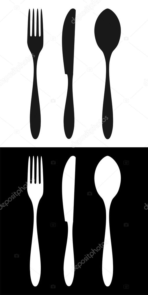 Cutlery icons. Fork, knife and spoon silhouettes signs on different backgrounds. Vector available — Stock Vector #2145664