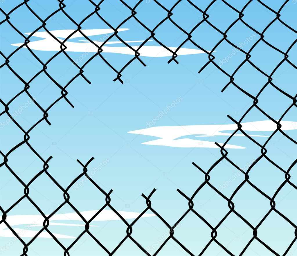 Prison Fence At Night: Cut Wire Fence With Blue Sky Background