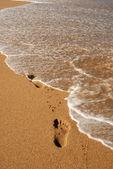 Voetafdruk op het zand — Stockfoto