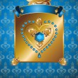 Golden background with diamond heart. — Stock vektor