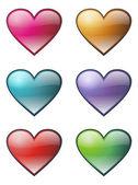 Conjunto de iconos de corazones — Vector de stock