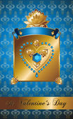Golden background with diamond heart. — Wektor stockowy