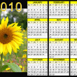 2010 calendar - sunflower — Stock Photo