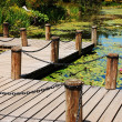 Garden pond dock — Stock Photo