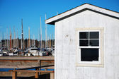 Marina boathouse on sunny day — Stock Photo
