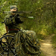 Disabled  hunter — Stockfoto