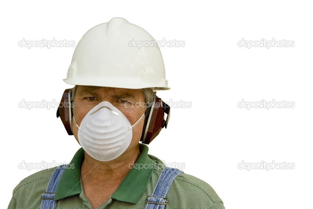 Male worker wearing hardhat,ear protection,and dust mask — Stock Photo #2029999