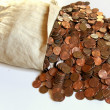 Cascading pennies — Stock Photo