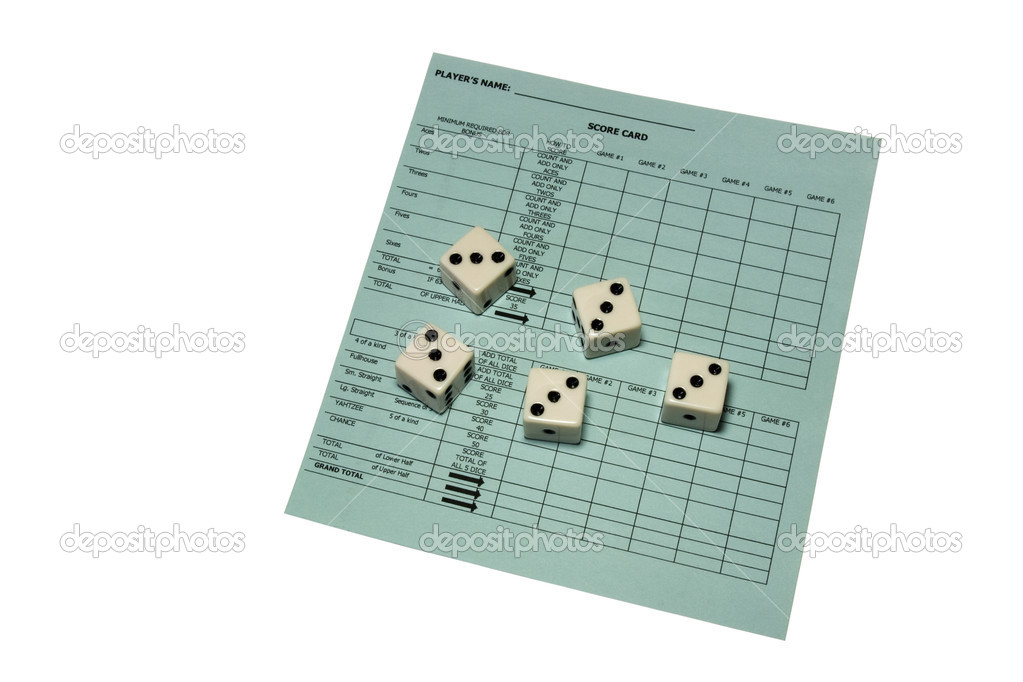 Yahtzee scorecard and five dice showing all threes — Stock Photo #2076513