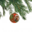Christmas red boll on fur-tree as backgr — Stock Photo