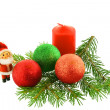 Chrismas still life with red candles a — Stock Photo
