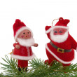 Stock Photo: Christmas doll and Santa with green fur