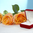 Wedding rose with ring - Stock Photo