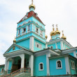 Russian church with gold  dome - Stock Photo