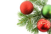 Christmas branch fur-tree with sphere tr — Stock Photo