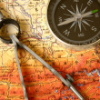 Compass and map — Stock Photo #2043982