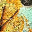 Map, compasses and compas — Stock Photo #2044547