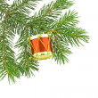 Christmas tree- fir with toy - Stock Photo