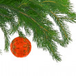 Christmas fur-  tree with ball — Stock Photo