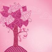 Birds on a pink tree — Stock Photo