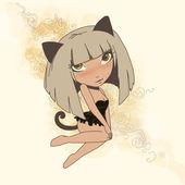 Kitty girl — Stock Photo
