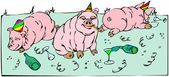 Pigs celebration — Stock Vector