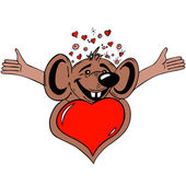 Mouse with heart — Stock Vector