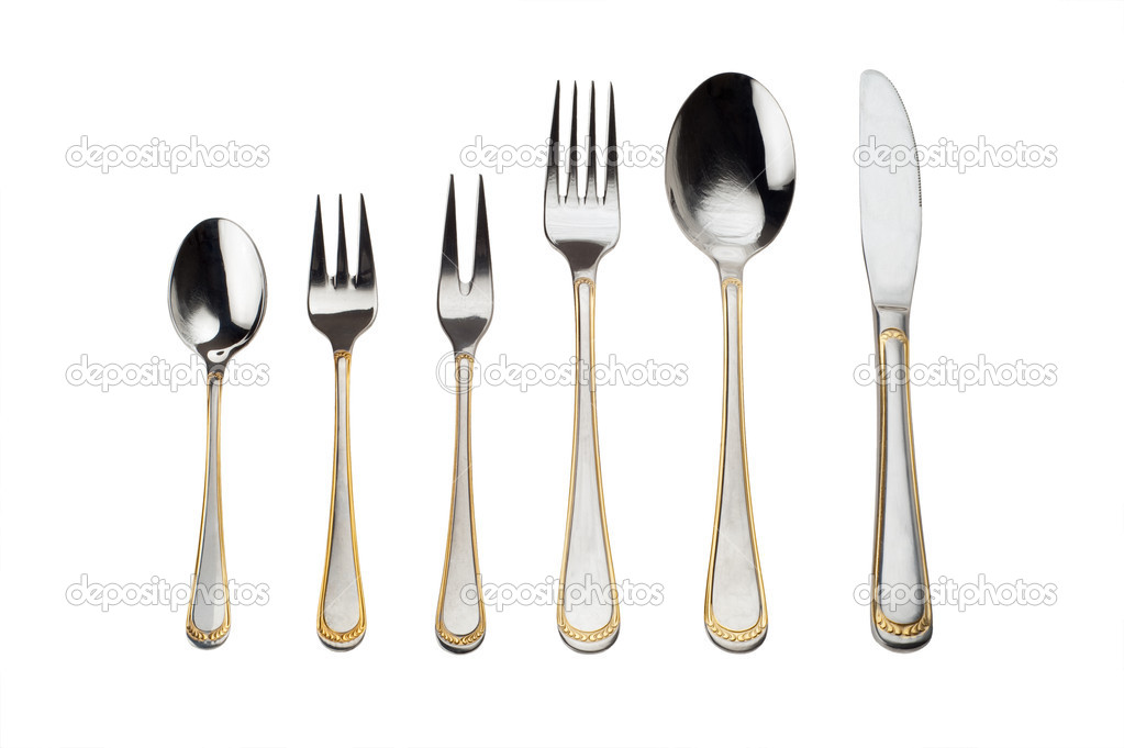 Full set Of Silverware  Isolated On White Background — Stock Photo #2521879