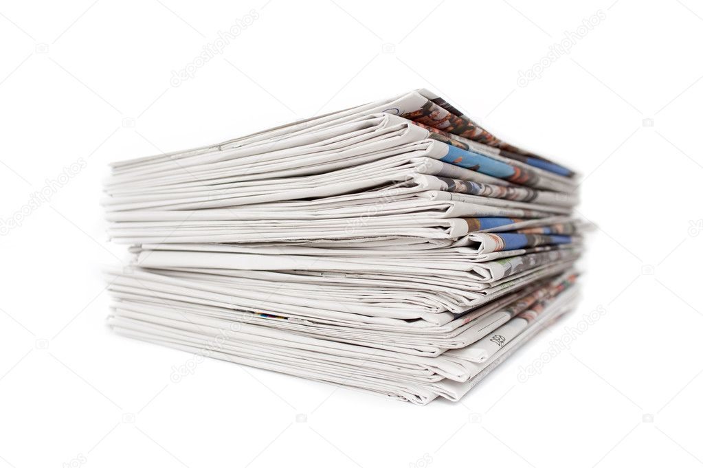 Stack of Newspapers isolated on White  Stock Photo #2565998