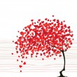 Valentine day abstract with tree - Stock Vector