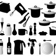 Stock Vector: Kitchen objects silhouettes