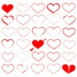 A lot of red hearts - vector set — Stock Vector #2037544