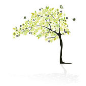 抽象树与花 — 图库矢量图片
