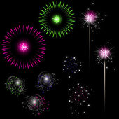 Colorful fireworks with space for text — Stock Vector