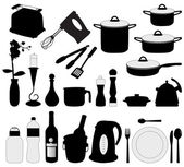 Dishes, pan, mixer and other kitchen obj — Vetorial Stock